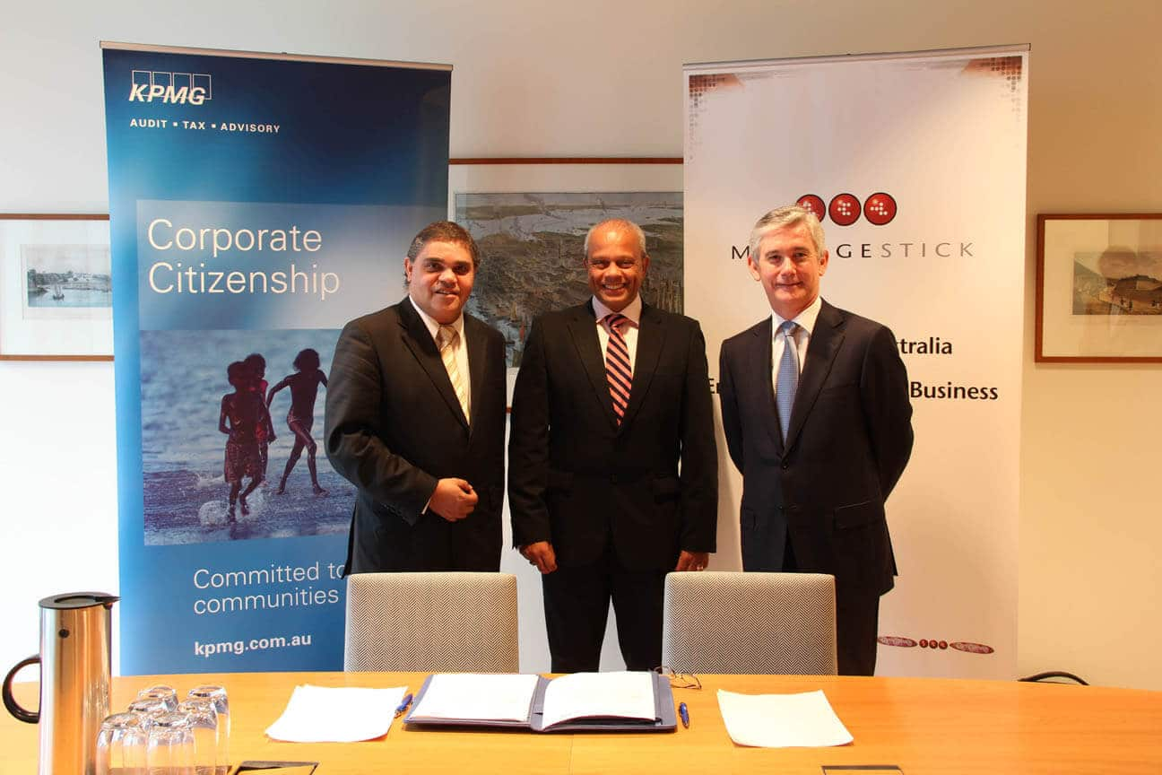 Left to right - Michael McLeod, CEO - Message Stick, Lord Michael Hastings, KPMG - Global Head of Citizenship and Diversity, Geoff Wilson, CEO - KPMG